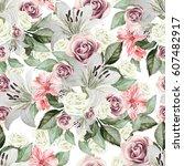 bright watercolor seamless... | Shutterstock . vector #607482917