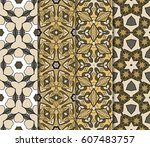 set of 4 colorful decorative... | Shutterstock .eps vector #607483757