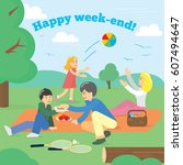 happy family on weekend. family ... | Shutterstock .eps vector #607494647