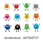 cute monster vector set | Shutterstock .eps vector #607505717