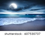 summer landscape of beach at... | Shutterstock . vector #607530737