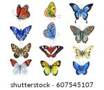 Stock photo watercolor hand painted butterflies can be used as background for invitations greeting cards 607545107