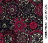 seamless ethnic pattern with... | Shutterstock .eps vector #607554323