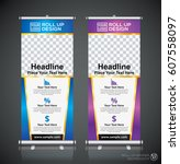 roll up brochure flyer banner... | Shutterstock .eps vector #607558097
