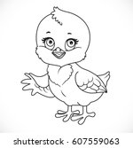 cute baby chick shows a side... | Shutterstock .eps vector #607559063