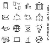 freehand line icons for... | Shutterstock .eps vector #607561067