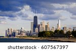 downtown chicago buildings and... | Shutterstock . vector #607567397
