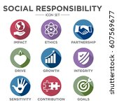 social responsibility solid... | Shutterstock .eps vector #607569677