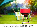 barbecue grill with smoke on... | Shutterstock . vector #607571423