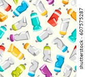 set of colorful vector paint... | Shutterstock .eps vector #607575287