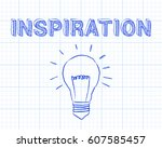 hand drawn inspiration sign and ... | Shutterstock . vector #607585457