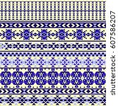 ethnic seamless pattern with... | Shutterstock .eps vector #607586207