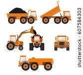 set of vector trucks   dumper ... | Shutterstock .eps vector #607586303