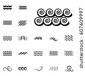 wave icons or water liquid... | Shutterstock .eps vector #607609997