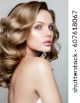 beauty portrait of model with...   Shutterstock . vector #607618067