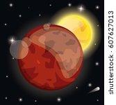 mars planet sunshine system... | Shutterstock .eps vector #607627013