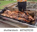 pig freshly removed from... | Shutterstock . vector #607629233