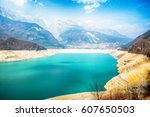 drought lake   molveno | Shutterstock . vector #607650503