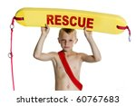 boy with lifeboat on white... | Shutterstock . vector #60767683