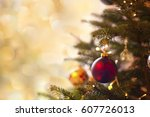 christmas card with free space... | Shutterstock . vector #607726013