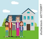grandparents with girls house...   Shutterstock .eps vector #607733897