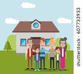 family near house residential   Shutterstock .eps vector #607733933