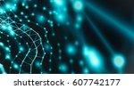 futuristic virtual technology... | Shutterstock . vector #607742177