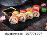 Rainbow Sushi Roll With Salmon...