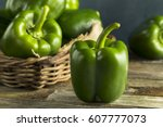 Raw Green Organic Bell Peppers...