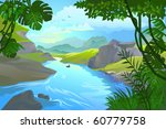 man rowing his small boat by... | Shutterstock .eps vector #60779758