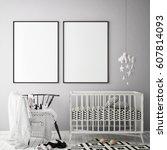 mock up poster frame in... | Shutterstock . vector #607814093