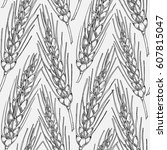 seamless pattern with hand... | Shutterstock . vector #607815047