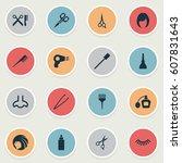vector illustration set of... | Shutterstock .eps vector #607831643