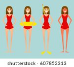 concept of a woman on vactaion. ... | Shutterstock .eps vector #607852313