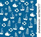 cartoon seamless nautical... | Shutterstock .eps vector #607867577