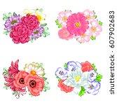 flower set | Shutterstock .eps vector #607902683