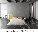 mock up wall in bedroom... | Shutterstock . vector #607907273