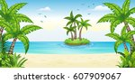 illustration of a tropical... | Shutterstock .eps vector #607909067