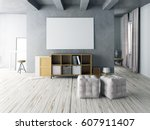 mock up poster in interior with ... | Shutterstock . vector #607911407