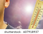 the thermometer with  sunny sky ... | Shutterstock . vector #607918937