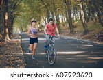 sports girls involved in sports.... | Shutterstock . vector #607923623