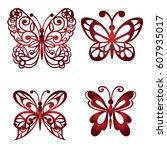 set of decorative butterflies.... | Shutterstock .eps vector #607935017