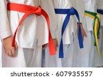 people in martial arts training ...   Shutterstock . vector #607935557