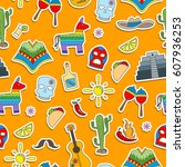 seamless pattern on the theme... | Shutterstock .eps vector #607936253