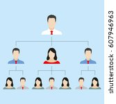 hierarchy or organization chart ... | Shutterstock . vector #607946963