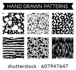 pattern with spots and blobs of ... | Shutterstock .eps vector #607947647