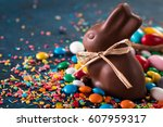 delicious chocolate easter eggs ... | Shutterstock . vector #607959317