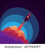 rocket in the space. object... | Shutterstock .eps vector #607965497