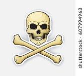 vector illustration. skull... | Shutterstock .eps vector #607994963