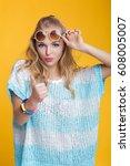glamorous beautiful blond woman ... | Shutterstock . vector #608005007